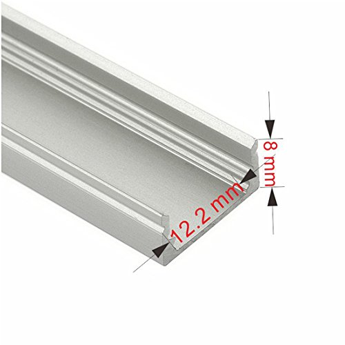 5 Pack of TECLED 4ft. 46'' LED Aluminum Profile U-Shape Channel System with Frosted Diffuse Cover, End Caps, Mounting Clips Surface Mount, Fit 2835/5050 LED Strip 17.1mmx7.3mm Clear Anodized Part#20301 by TECLED (Image #3)