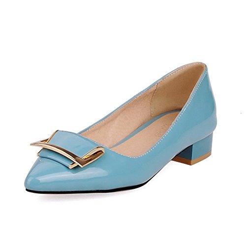 Allhqfashion Scarpe Da Donna In Vernice Con Tinta Unita A Punta Stretta E Tacco Basso, Scarpe Con Tacco Blu