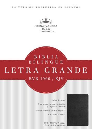 RVR 1960/KJV Biblia Bilingue Letra Grande, negro imitacion piel con indice  (Tapa Dura)