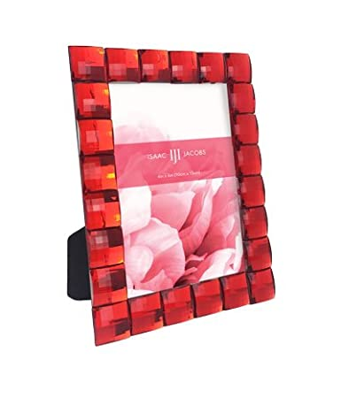 Isaac Jacobs International Jewel Picture Frame (4x4, Red) JL-44RD