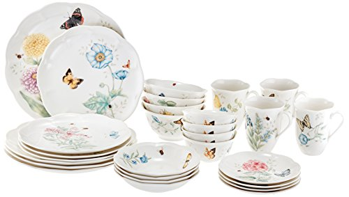 Lenox 28 Piece Butterfly Meadow Classic Dinnerware - Chip Butterfly Meadow
