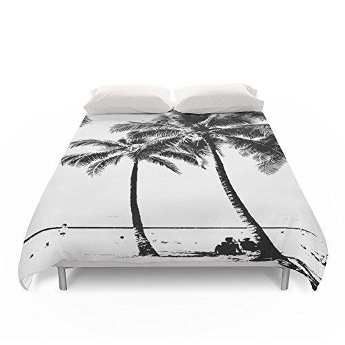 Society6 Black And White Palm Tree With Hawaii Summer Sea Beach Duvet Covers King: 104'' x 88'' by Society6