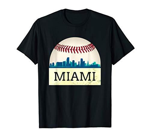 (Miami Baseball Tshirt Cool Marlin Skyline on Giant Ball )