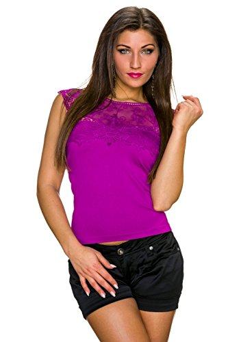 TYZI - Camiseta sin mangas - Básico - Manga corta - para mujer morado