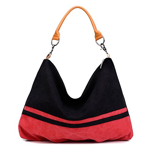Bolsos de Mujer,Young & Ming Bolso Bandolera Lona Bolsa de Hombro Multifunción Bolso con Tirantes Negro&Rojo