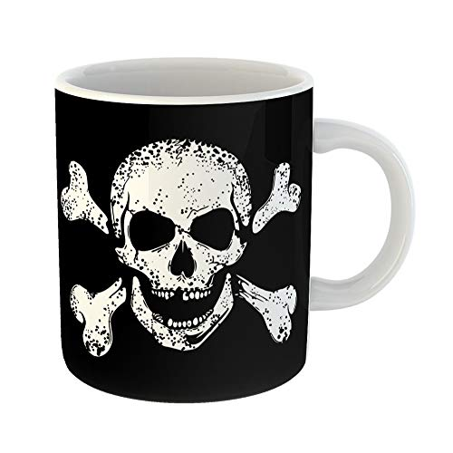 Emvency Coffee Tea Mug Gift 11 Ounces Funny Ceramic Skull Jolly Roger on Human Dead Head Crossed Bones Cross Gifts For Family Friends Coworkers Boss Mug