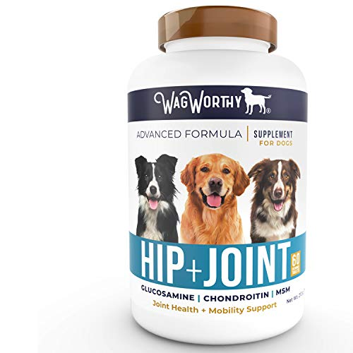 WagWorthy Naturals Advanced Hip and Joint Supplement for Dogs with Chondroitin, MSM and Glucosamine for Dogs, Improves Mobility, Arthritis Pain Relief for Dogs, 60 Chewable Tablets, Made in USA ()