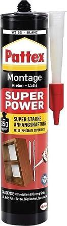 Pattex Montagekleber Super Power, Baukleber mit superstarker Anfangshaftung, Kraftkleber für saugende Materialien, Kleber für