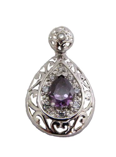 - Classic Rhodium with CZ Sterling Silver Pendant