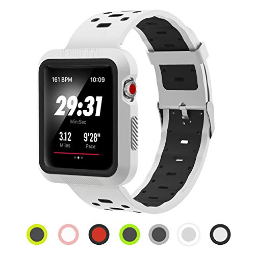 Pantheon Compatible Apple Watch Band 44mm 42mm Silicone Built in Bumper - Waterproof Sport Strap Series 4 3 2 1