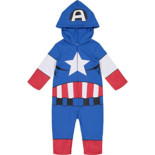 Marvel Avengers Captain America Toddler Boys' Zip-Up Hooded Costume Coverall (4T)
