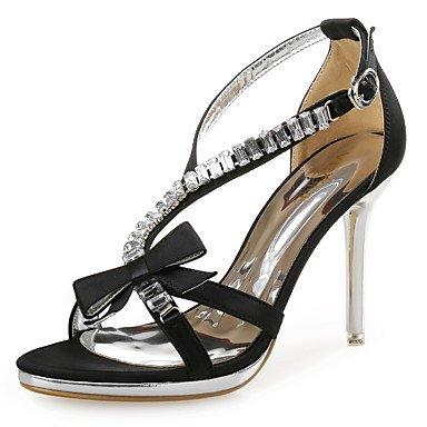LvYuan Mujer-Tacón Stiletto-Innovador Zapatos del club-Sandalias-Boda Vestido Fiesta y Noche-Sintético Purpurina Tejido-Negro Oro Gold