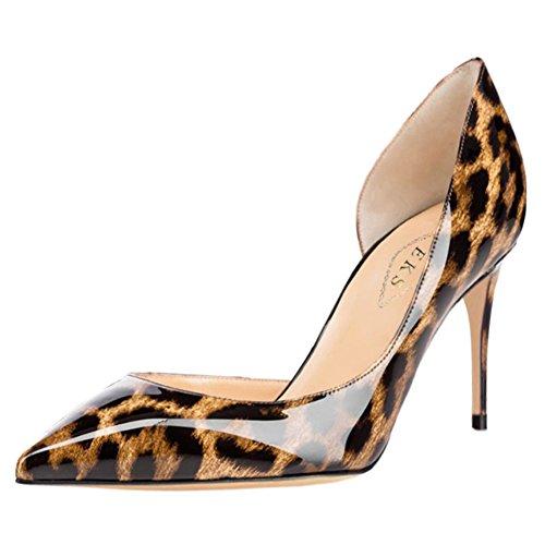 EKS Damen Fllosace Stilettos spitze Zehe Pumpen-Schuhe Leopard-Lackleder