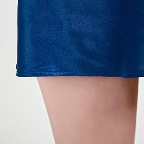 2017 Resorte De La Señorita Xia Ji Camisón De Seda Bordada Atractiva Blue