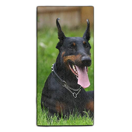 Doberman Pinscher Beach and Bath Towel Natural Printed Towel Multi-purpose for Gym Yoga Camping Travel 11.8 × 27.5 Inches