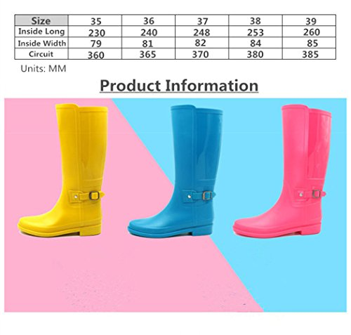 Buckle Rubber High Rainboots Baiyouli Mid Boot with Calf Design for Knee Waterproof Red Women Hunter Rain 4CwPHqw
