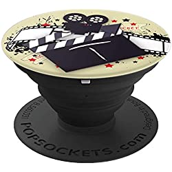 Cinema Film Strip Hollywood Movie Clapboard Monogram - M - PopSockets Grip and Stand for Phones and Tablets