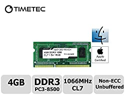 Timetec Hynix IC 4GB DDR3 1066MHz PC3-8500 Unbuffered Non-ECC 1.5V CL7 1Rx8 Single Rank 204 Pin SODIMM Laptop Notebook Computer Memory Ram Module Upgrade (High Density 4GB)