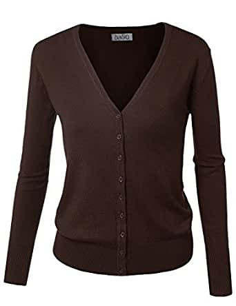 BIADANI Women Button Down Long Sleeve Soft V-Neck Cardigan Sweater Brown 1X-Large