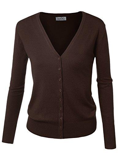 BIADANI Women Button Down Long Sleeve Soft V-Neck Cardigan Sweater Brown Small