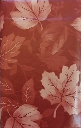 Print of Autumn Leaves on Assorted Colors Vinyl Flannel Back Tablecloth (Cranberry, 52