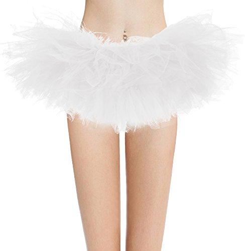 Dresstore Women's Vintage 5 LayeWhite Tulle Tutu Puffy Ballet Bubble Skirt White Plus Size