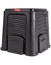Squareful 115-Gallon Large Compost Bin, Garden Waste Bin Grass Food Trash Fertilizer Barrel Soil Saver Outdoor Composter with Easy Assembly, Black