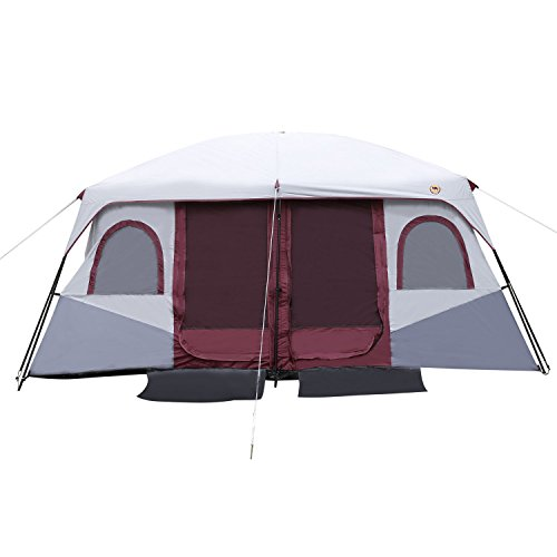 Cheap Outdoor Camping Hiking Tent Dual Layer Waterproof 2-Bedroom & 8-10 Person (Red)