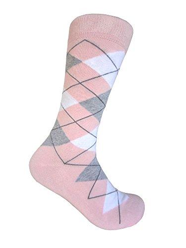 Mens Pink Argyle Dress socks Light Pink/White/Heather Grey,One size fits most men; Sock Size 10-13.