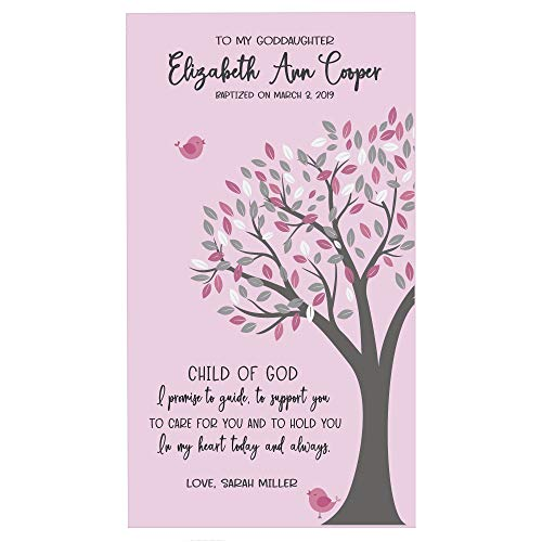 """LifeSong Milestones Personalized Baptism 1st Holy Communion Christening Gifts for Goddaughter from Godparents Godmother Godfather 8""""x16"""" (Child of God)"""