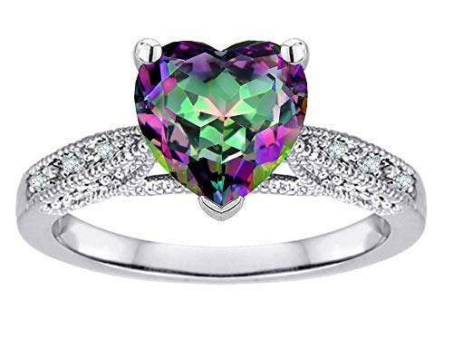 (Star K Heart-Shape 8mm Rainbow Mystic Topaz Antique Vintage Style Solitaire Engagement Promise Ring 10k White Gold Size 6.5)