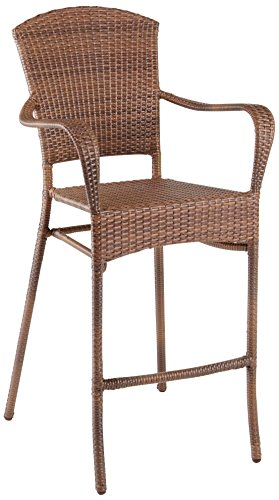 Panama Jack PJO-7001-ATQ-BS Key Biscayne Stackable Woven Barstool with Cushion, Sunbrella Spectrum - Daffodil Spectrum Sunbrella