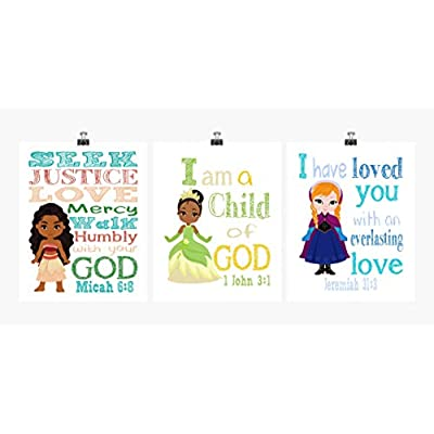 Princess Inspirational Nursery Decor Set of 3 Prints - Ana, Tiana and Moana: Handmade