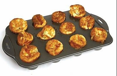 Nonstick Linking Popover Muffin Pastry Biscuit Roll Pan 12 Mini Cup