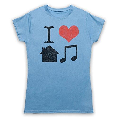 I Love House Music Slogan Camiseta para Mujer Azul Cielo