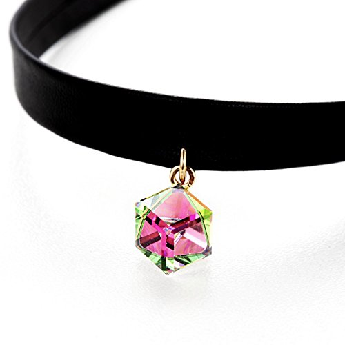 Cool Kong Floating (Gorgeous Jewelry Fashionable Square Shape Dazzle Colour Aurora Borealis Crystal Leather String Choker Necklace Pink)