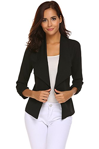 Womens Lightweight 3/4 Sleeve Open Front Draped Tuxedo Blazer Jacket (Black, (US 16) X-Large)