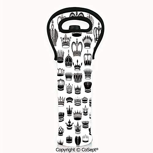 (Portable Wine Tote Holders,Big Silhouette Crown Set Monarchy Imperial Ruler Icons Antique Ancient Vintage,Wine Bottle Protector(4.72x14.96 inch) Black and White)