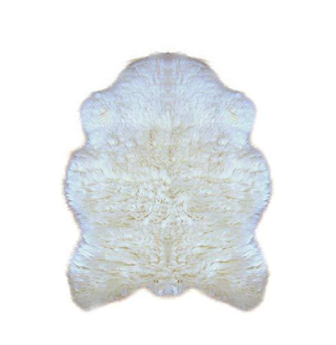 (Premium Faux Fur Bear Skin Area Rug - Plush Shaggy Shag - Pelt - Hide - Sheepskin - Throw Carpet - Fur Accents (3'x5', Polar Bear Off White))