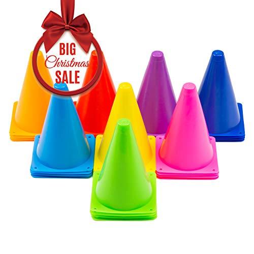 Cadamada Traffic Cones Football Cone Training Traffic Cone Indoor/Outdoor Agility Cones Sports Soccer Flexible Cone Sets 32Pcs-8 Colors -