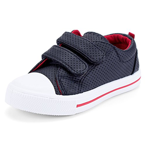 (KomForme SBB005-12M Toddler Sneakers for Boys and Girls Cartoon Dual Hook and Loops Sneakers Baby Canvas Shoes Dark Blue)