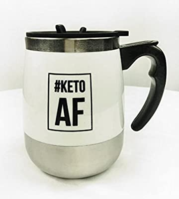 STUPID SIMPLE KETO COFFEE MUG: #KETOAF SELF STIRRING - Perfect for bulletproof coffee. Auto stir in your favourite MCT Oil or Powder with this electric push button mixing. Messless blender is the best