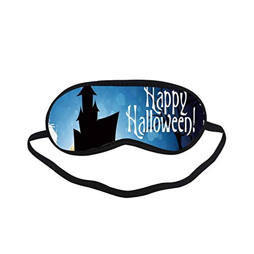 Halloween Fashion Black Printed Sleep Mask,Gothic Ancient Castle Moon Cruciform Graveyard Tree Silhouette Abstract for Bedroom,7.1