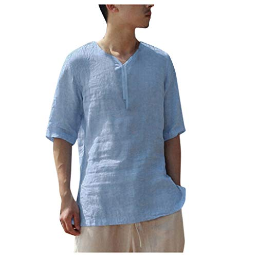 iHPH7 Shirts Casual Short Sleeve Loose Fit Beach Shirts Hawaiian Shirt for Men (XXL,Blue)]()