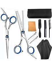 9pcs Hair Cutting Tool Hairdressing Kit Haircut Scissors Thinning Shear Comb Hairpin Bangs Trim Tool for Home Salon Barber Supplies Blue
