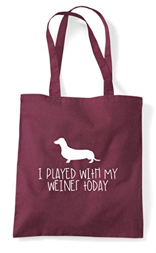 Bag With Dog Parody My Sausage Tote Played Funny Burgundy Shopper Today I Weiner vw0qa5TvY