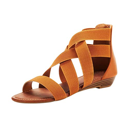 TIANMI Shoes for Women,Casual Comfortable Cross Elastic Strap Ankle Wedges Roman Sandals Shoes (Brown,41)