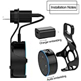 Original Outlet Wall Mount Holder for Amazon Echo Dot 2nd Generation - No Messy Wires or Screws - Plug in Kitchens, study, living room, bathrooms and bedrooms or anywhere you like (Black)