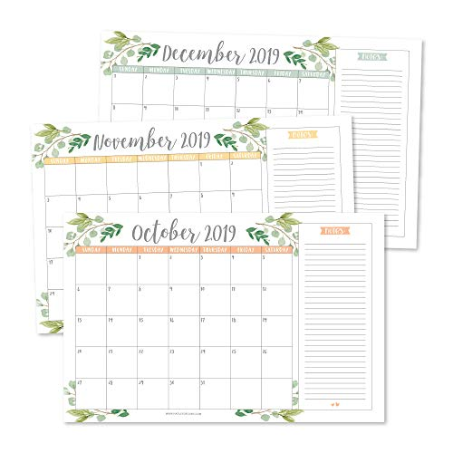 Greenery 2020 Large Monthly Desk or Wall Calendar Planner, Big Giant Planning Blotter Pad, 18 Month Academic Desktop, Hanging 2-Year Date Notepad Teacher, Mom Family Home Business Office 11x17