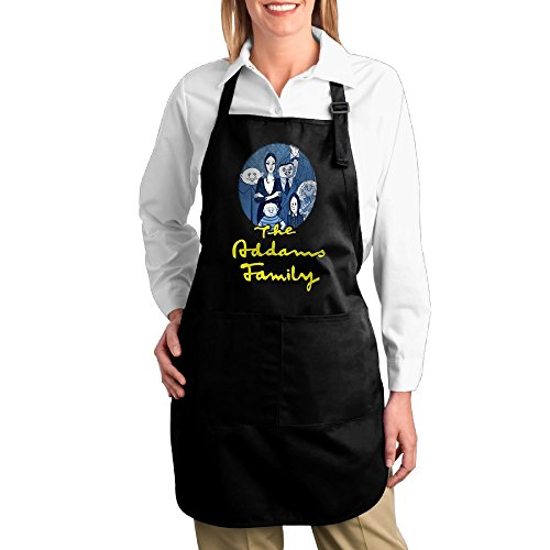 [The Adams Family Event Adjustable Bib Chef Kitchen Aprons With Pockets Black] (Lurch Costumes)